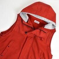 Stone Island red raso gommato fleece hydrophobic treatment gilet XXXL