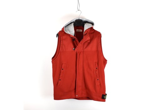 Stone Island Stone Island red raso gommato fleece hydrophobic treatment gilet XXXL
