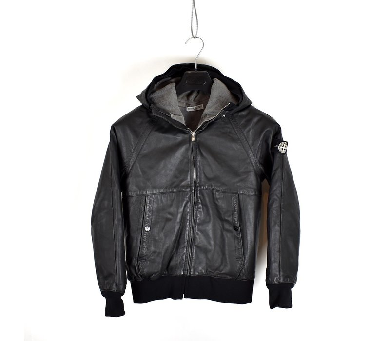 Stone Island junior black leather hooded bomber jacket age 12