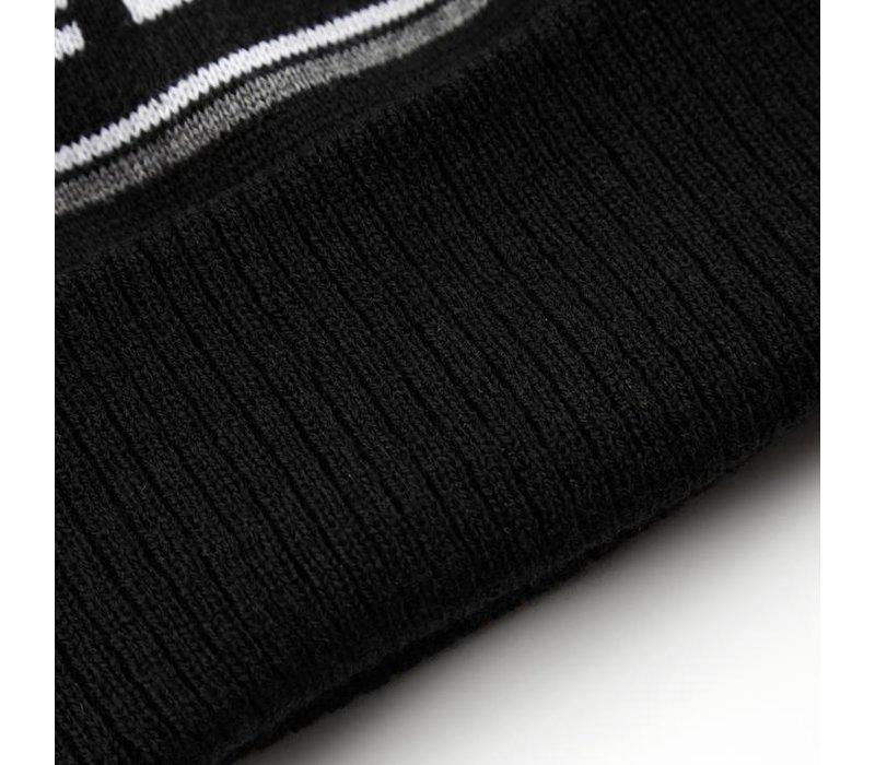 Weekend Offender Mountains knit beanie hat Black
