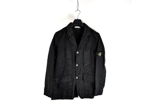 Stone Island Stone Island black spalmatura coated cotton canvas blazer jacket XL