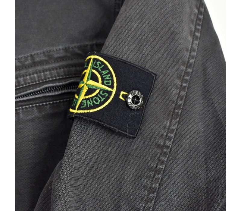 Stone Island black old effect cotton overshirt L