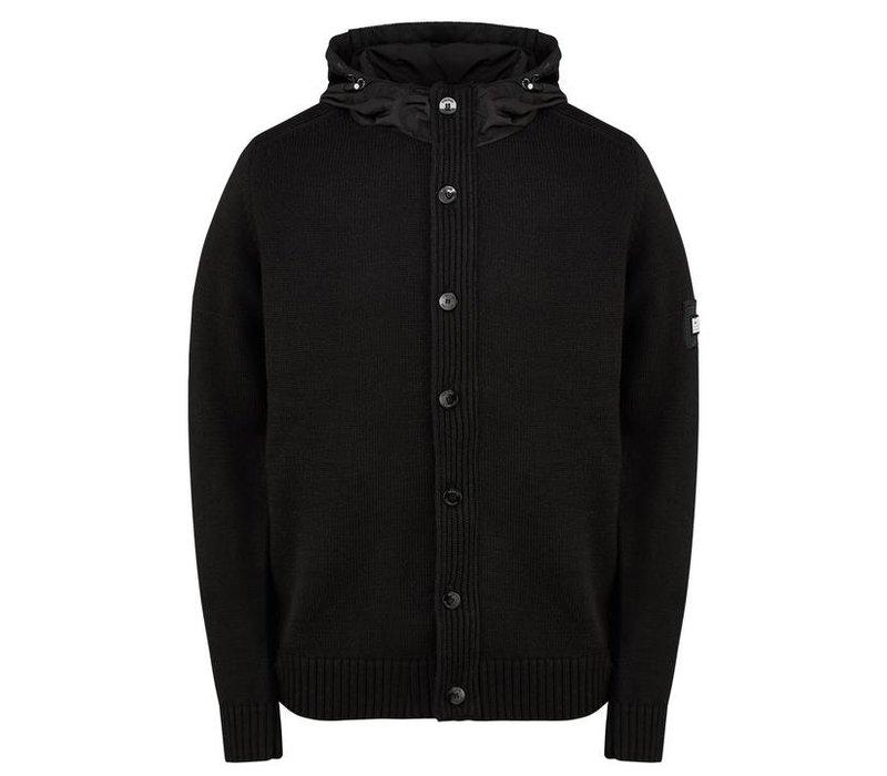 Weekend Offender Toledo hooded full zip knit jumper Black