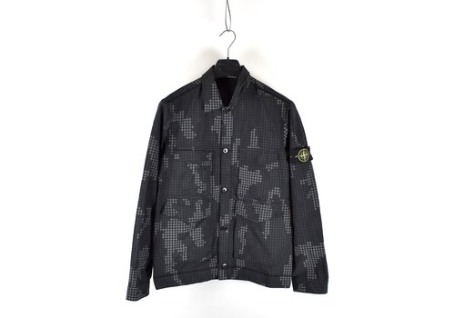 Stone Island Stone Island black full compact rip stop SI check grid camo overshirt jacket M