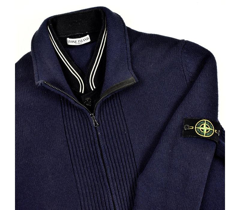 Stone Island navy wool full zip knit XXXL