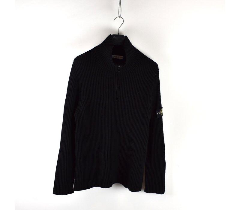 Stone Island black wool quarter zip knit XXXL