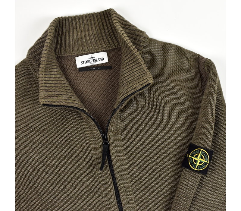 Stone Island green wool full zip knit XXL