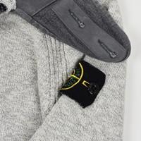 Stone Island melange grey cotton hooded knit L