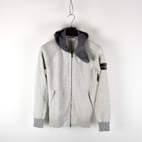 Stone Island melange grey cotton hooded full zip knit L