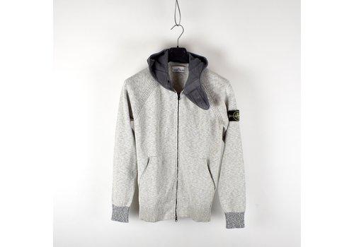 Stone Island Stone Island melange grey cotton hooded full zip knit L