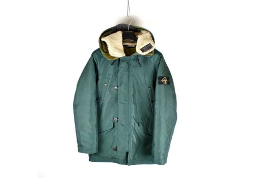 Stone Island Stone Island green oxford nylon N3-B sheepskin hooded parka L