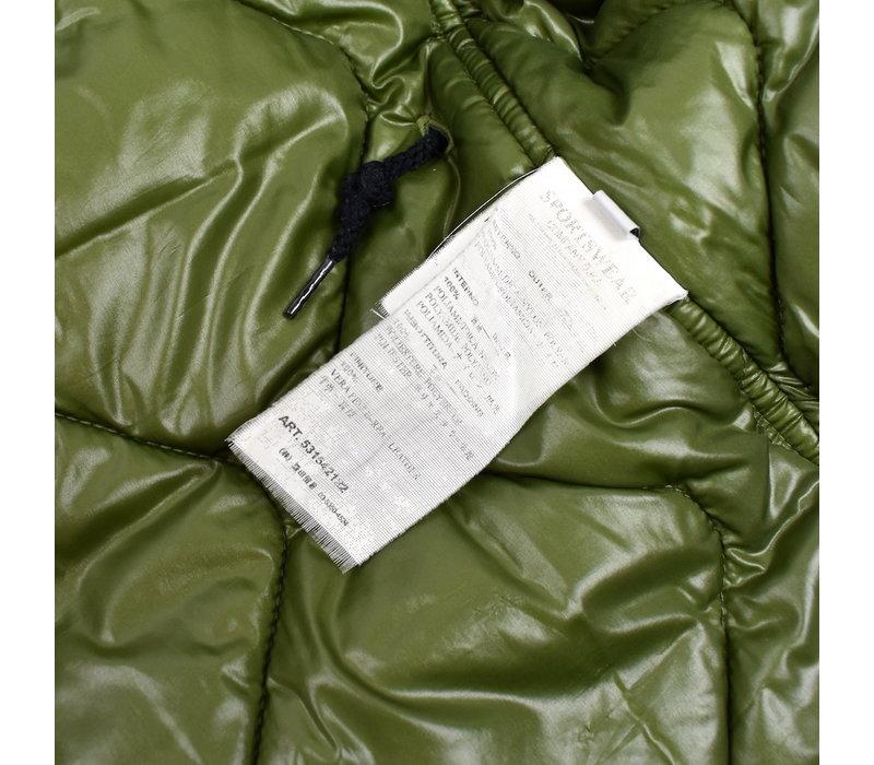 Stone Island green oxford nylon N3-B sheepskin hooded parka L