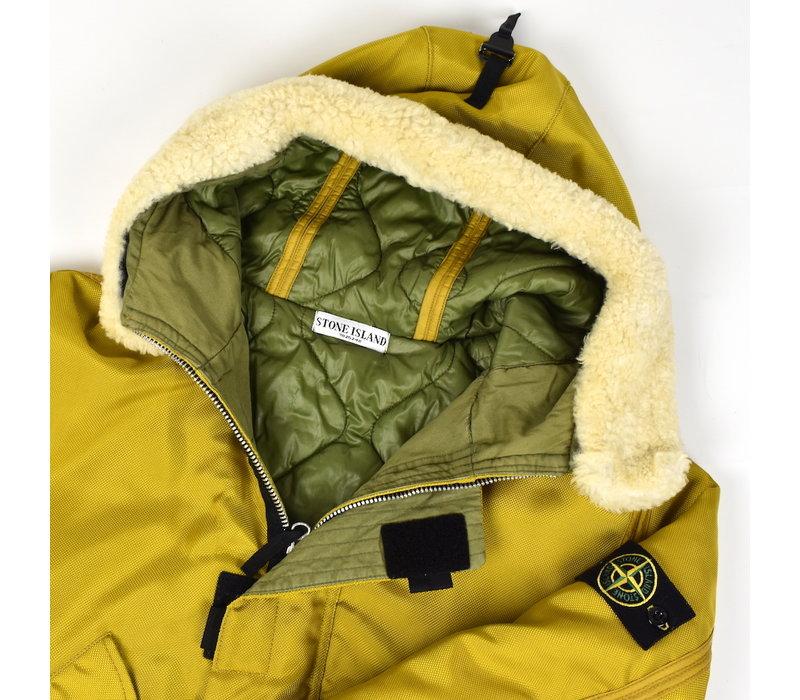 Stone Island yellow oxford nylon N3-B sheepskin hooded jacket L