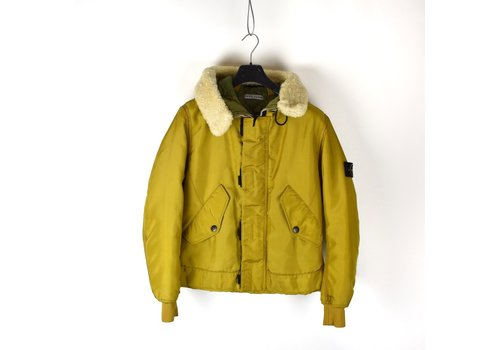 Stone Island Stone Island yellow oxford nylon N3-B sheepskin hooded jacket L
