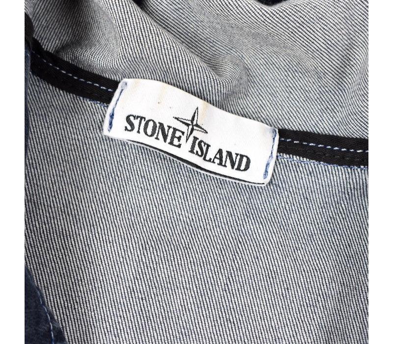Stone Island grey foam treated resin denim bleach short parka M
