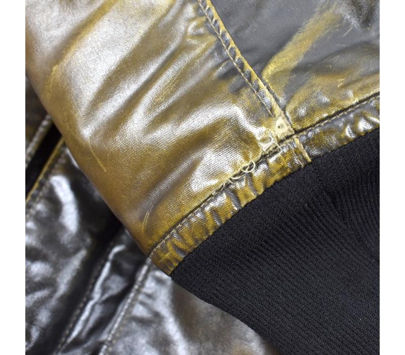 Stone Island brown waxed ice 2 bomber jacket XXL