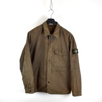 Stone Island brown lined cotton overshirt jacket XXL