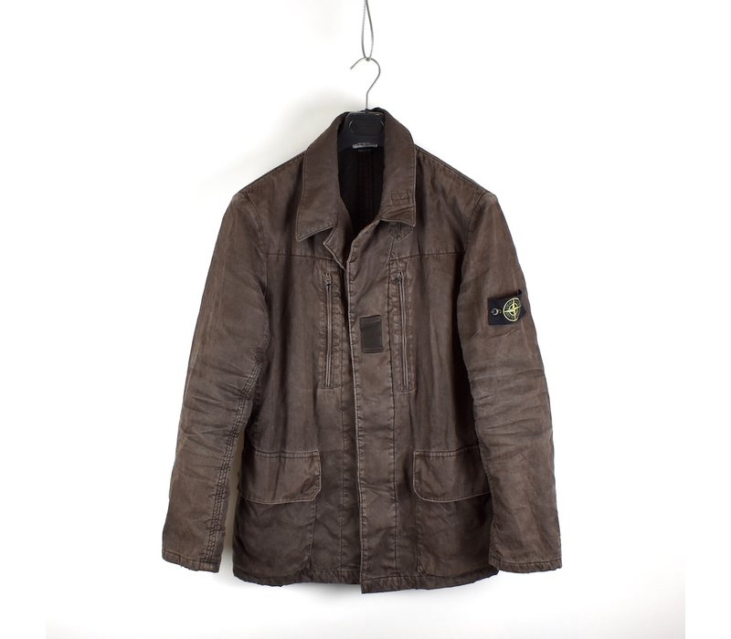 Stone Island brown linoflax lined blazer jacket L