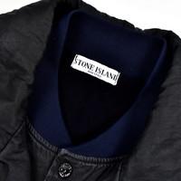 Stone Island black linoflax lined trench coat XXL