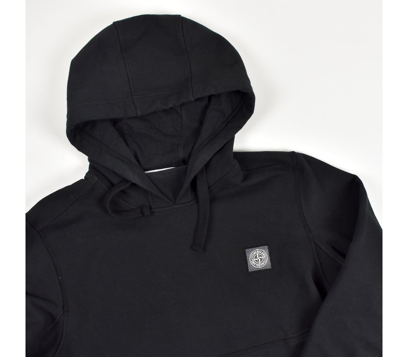 Stone Island black hooded patch program sweatshirt S