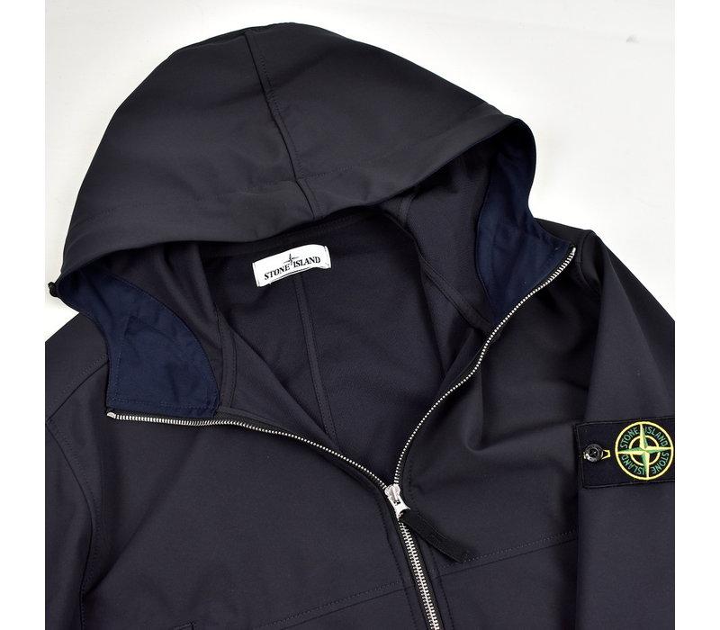 Stone Island navy light soft shell-r hooded parka XXL