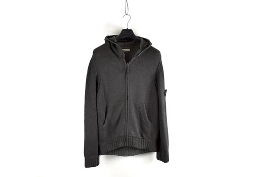 Stone Island Stone Island grey hooded graphite full zip knit L