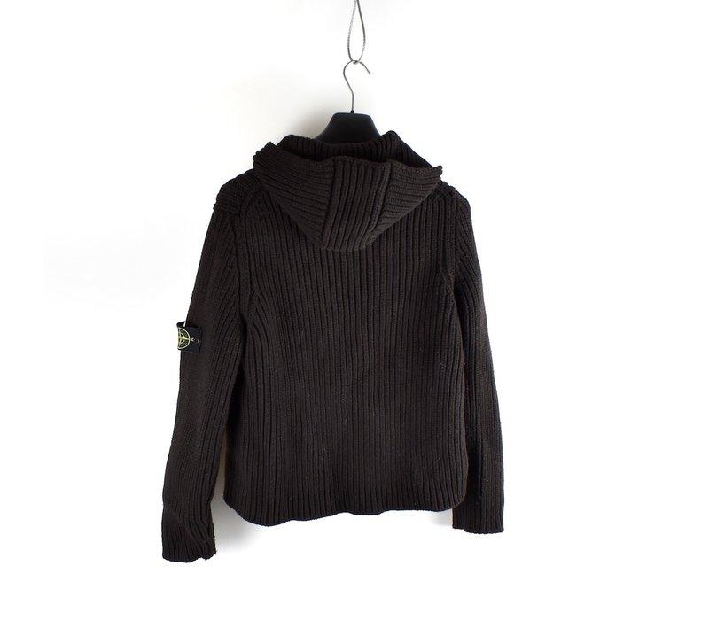 Stone Island black wool ribbed hooded presidents knit L