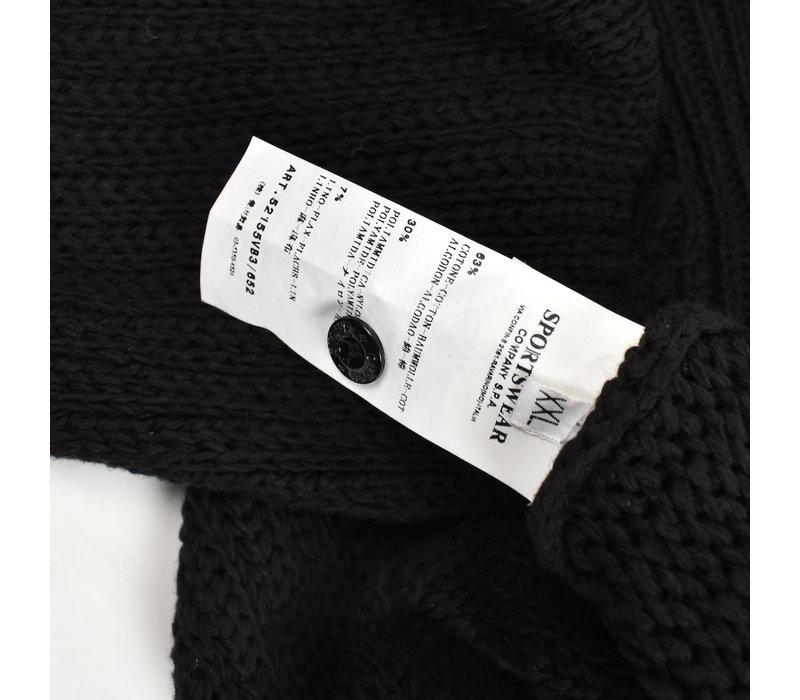 Stone Island black heavy cotton hooded knit XXL