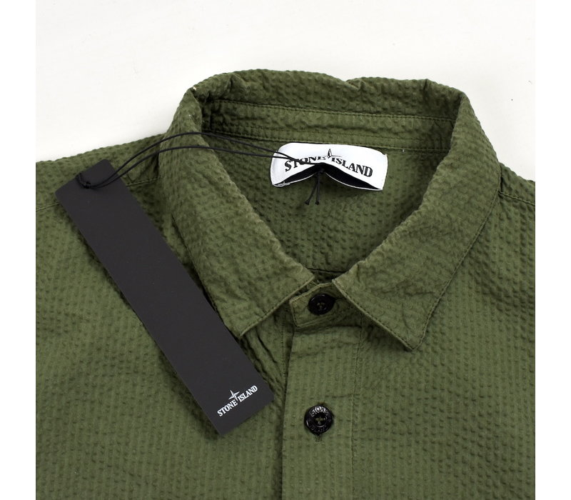 Stone Island green seersucker co tc long sleeve shirt M