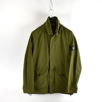 Stone Island green polyester micro reps long jacket L