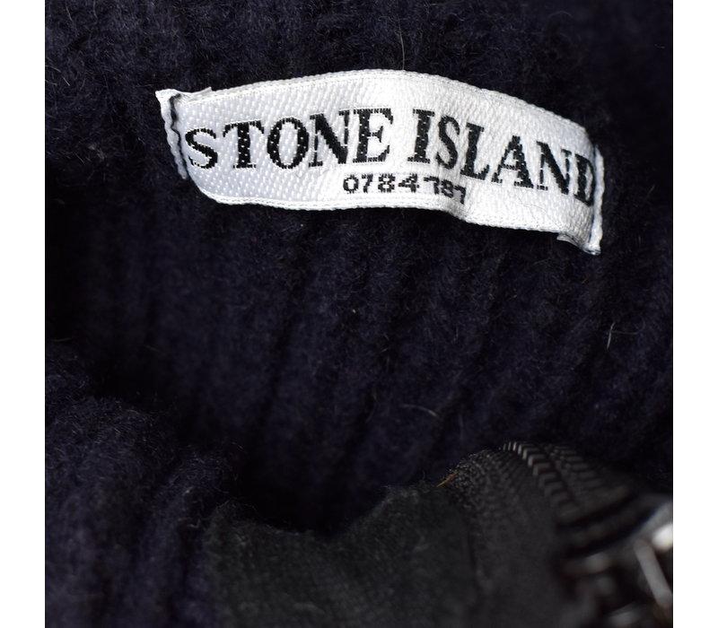 Stone Island navy shoulder badge wool quarter neck knit XXXL