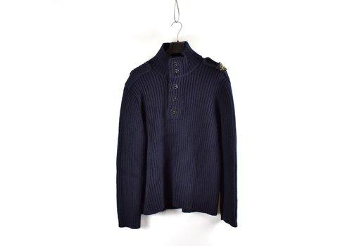 Stone Island Stone Island navy shoulder badge wool quarter neck knit XXXL