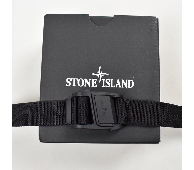 Stone Island black canvas belt with magnetic buckle 90cm