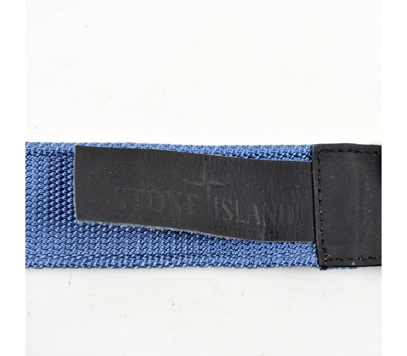 Stone Island blue canvas belt with compass star buckle 95cm