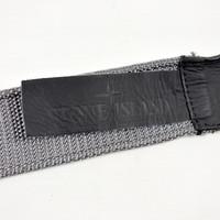 Stone Island grey canvas belt with compass star buckle 95cm