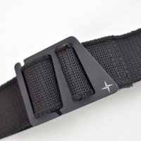 Stone Island black canvas belt with compass star detail buckle 95cm
