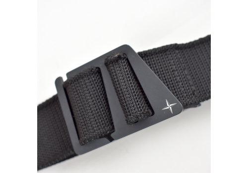 Stone Island Stone Island black canvas belt with compass star detail buckle 95cm
