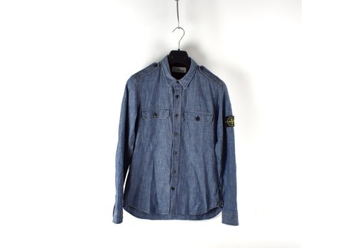 Stone Island Stone Island blue chambray cotton long sleeve shirt S