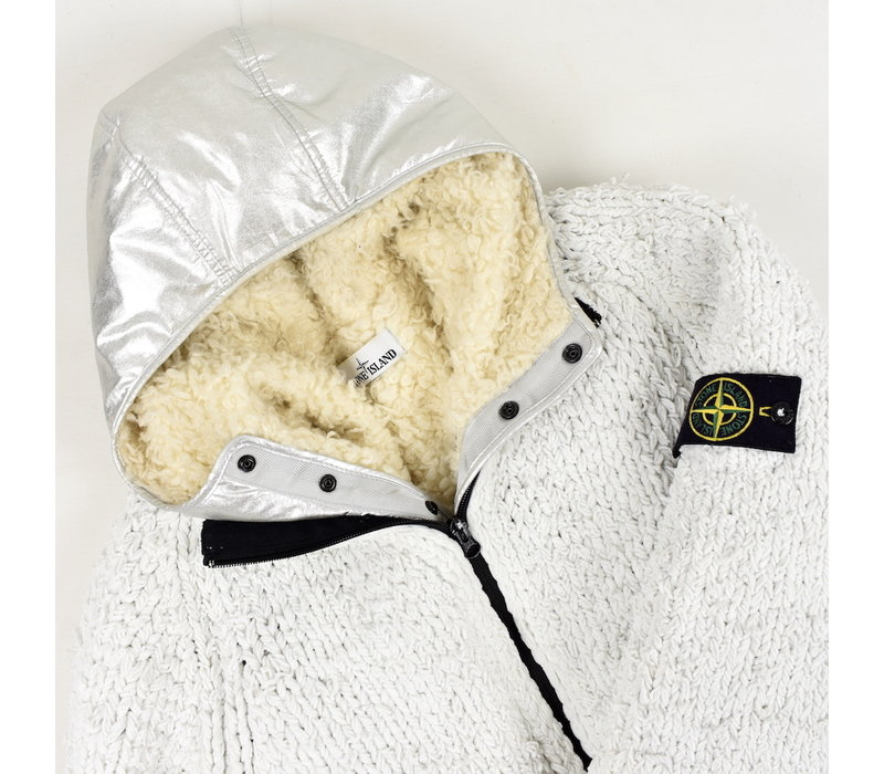Stone Island white polyester chenille silver poly fur lined presidents knit L