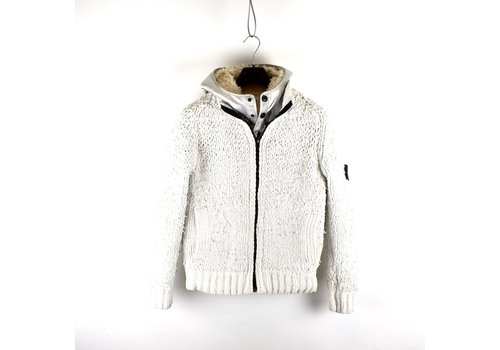 Stone Island Stone Island white polyester chenille silver poly fur lined presidents knit L