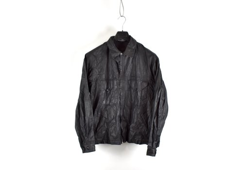 Stone Island Stone Island black waxed cotton spell out logo cotton overshirt L