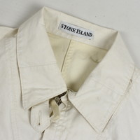 Stone Island white waxed cotton spell out logo cotton overshirt M