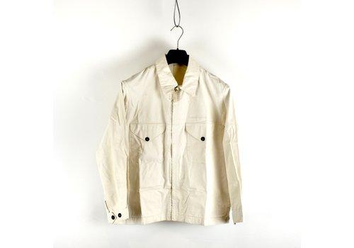 Stone Island Stone Island white waxed cotton spell out logo cotton overshirt M