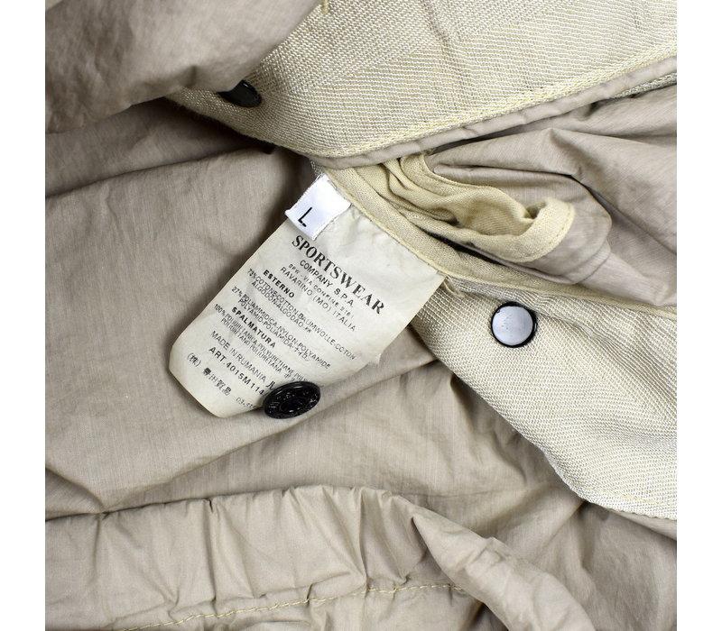Stone Island grey resin coated canvas hooded jacket L