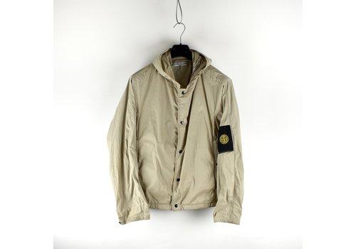Stone Island Stone Island grey resin coated canvas hooded jacket L