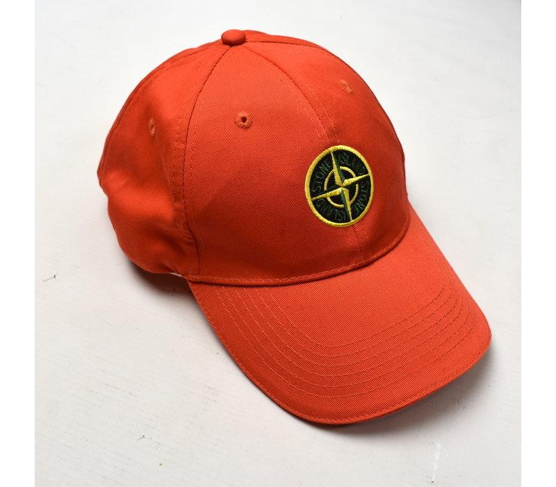 Stone Island red cotton compass logo cap