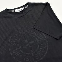 Stone Island black compass logo t-shirt L