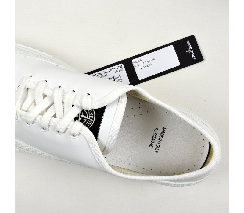 Stone Island x Diemme white leather low trainers 42
