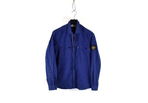 Stone Island Stone Island blue cotton zipped overshirt jacket L