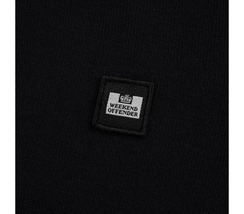 Weekend Offender Calanque fine cotton knit polo Black